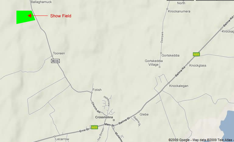 Location of Crossmolina Show Field